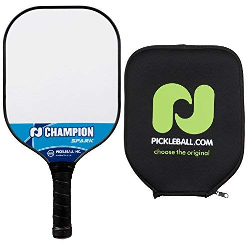 Pickle Ball Champion Spark Pickleball Paddel - Verbundpaddel, Polypropylen, Wabenkern, Fiberglas-Oberfläche, leicht, Blue + Cover -