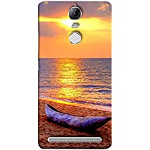 Printfidaa Lenovo K5 Note, Lenovo Vibe K5 Note Pro Back Cover Boat On Beach at Sunset Printed Designer Back Case