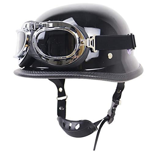 QHZ Erwachsene Harley Helm Motorrad Retro Halbhelm Open Face Beanie Jet Halbhelm Brille DOT Zertifizierung Military Steel Half Shell Helm Knight Chopper Fahrrad Jugend Halbhelm,XXL