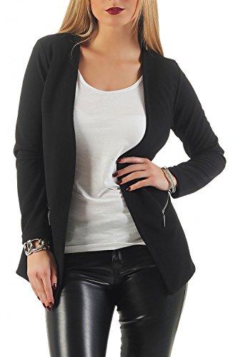 Damen lang Blazer mit Taschen ( 501 ), Farbe:Schwarz, Blazer 1:44 / XXL