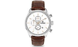 Vincero Luxury Orologio da polso da uomo Chrono S - Quadrante bianco con cinturino in pelle marrone - Orologio cronografo 43mm - Movimento al quarzo giapponese