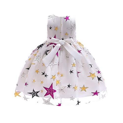 DDUPNMONE Mädchen Rock Star Print Spitzenkleid Prinzessin Kostüme Party Tutu Bogen - Rockstars Kostüm