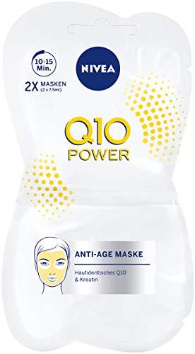 Anti-falten-und Straffende Behandlung (NIVEA Q10 POWER Anti-Falten Gesichtsmaske im 12er Pack (12 x 15 ml), straffende Hautpflege Maske, Gesichtspflege für jünger aussehende Haut)