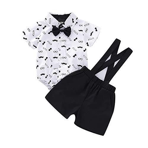 Shiningbaby Neugeborenes Baby Sommer Gentleman Kurzarm Blumendruck Strampler Tops und Hosenträger Shorts Outfits Kleidung Set (Schlüpfer Boy Kurze)
