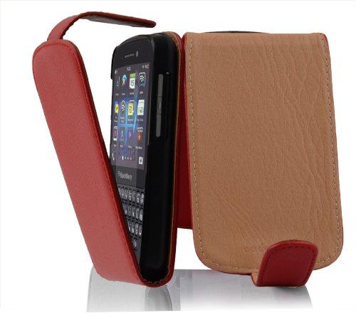 Cadorabo Hülle für Blackberry Q10 - Hülle in INFERNO ROT – Handyhülle aus strukturiertem Kunstleder im Flip Design - Case Cover Schutzhülle Etui Tasche