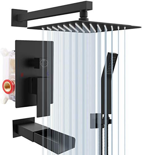Rainsworth 3-Funktions Duschsystem Unterputz, Schwarz Matt - Hochmoderne Air Injection - Technology - 30cm*30cm Quadratischer Regenduschkopf - Messing und Edelstahl