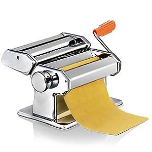 Nudelmaschine Pasta Maker-Edelstahl frische manuell Pasta Walze Maschine Cutter mit Klemme für Spaghetti Nudeln Lasagne-Einfache Reinigung und Verwendung Nudelstärken Pastamaschine Nudel Maschine