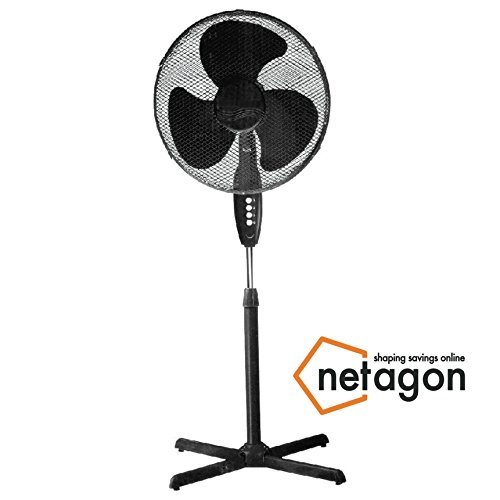 Netagon 16″ Electric Oscillating Floor Standing Pedestal Air Cooling Fan (Black)