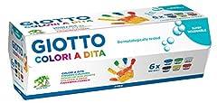 Idea Regalo - Giotto- Fila CF 6 Barattoli 100Ml Dita Tempere Artistiche Gioco Disegno 327, Multicolore, 8000825531606