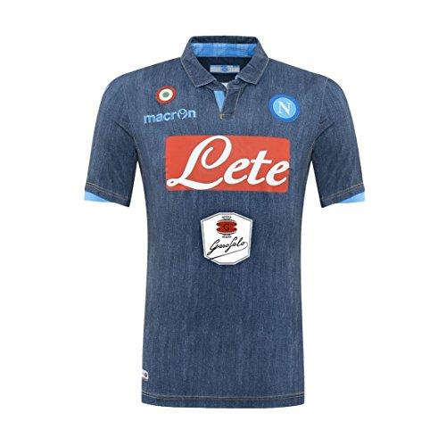 Macron–Camiseta de fútbol Teamtrikot Away Race Fútbol S.S. Napoli Denim Jeans Neapel 20142015Artículo Oficial, densimetro - Blue Jeans