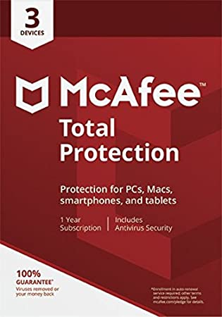 McAfee Total Protection|2018|3 Devices|1 Year|PC/Mac/Android|Download
