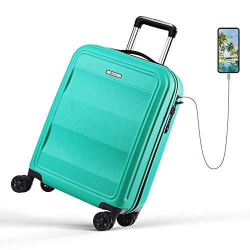 REYLEO, Valigia Rigida da Viaggio con Porta di Ricarica USB,100% PC di Trolley con Lucchetto TSA,Bagaglio a Mano con 4 Ruote Silenziose e Colori Speciali.(Verde, 55 cm, 31.5 L)