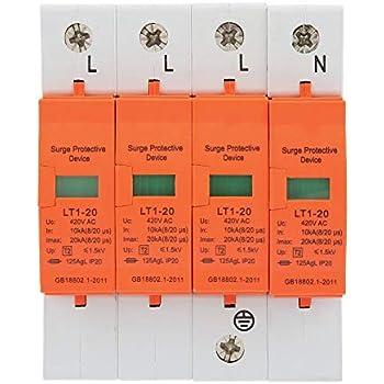 4P 220V 40KA Haus /Überspannungsschutz Niederspannungsschutz /Überspannungsschutz f/ür Blitzschutz Keenso Haus /Überspannungsschutz