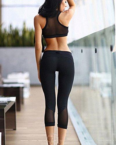Femme Bra Gilet Tops Sport Yoga Leggings Pantalon Fitness Ensemble 2 Pièces Noir
