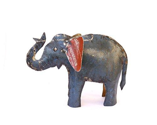 De Kulture funciona elefante Showpiece, Estatua, figura decorativa | figura de hierro reciclado | hecho a mano Curio | respetuoso con el medio ambiente Escultura | 10,6* 3* 7LWH (pulgadas)