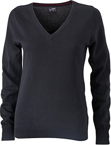 Ladies' V-Neck Pullover - taillierter Damen V-Neck Pullover L,Black