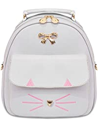 Zibuyu Cute Cat Women Pu Leather Bowknot Backpacks Travel Casual Mini Shoulder Bag