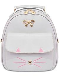 Zibuyu Cute Cat Women Pu Leather Bowknot Backpacks Travel Casual Mini Shoulder Bag