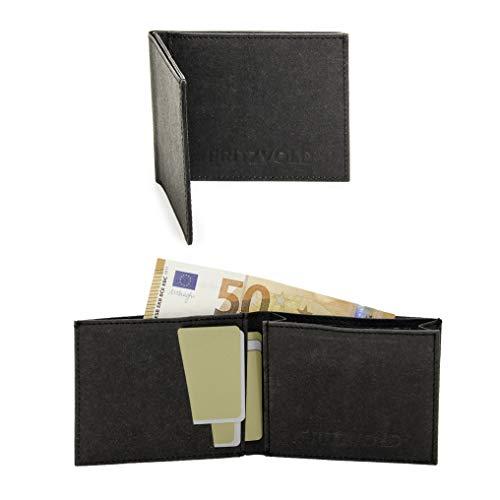 FRITZVOLD MINIMAL Wallet, RFID-Schutz & erweitertes Münzfach, kleines, dünnes Portemonnaie für Herren, extrem Flacher Geldbeutel, Slim Portmonee, Geldbörse aus waschbarem Papier-Kunstleder, schwarz
