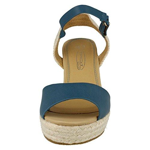 Modello Marina Puntini Di Sandalo blu Zeppa Delle Donne 4IUdwUfq