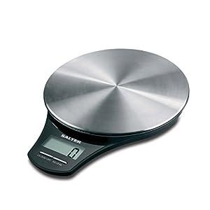 SALTER digitale Küchenwaage Edelstahl, Elektronische Waage für die Küche, Wiegen von Lebensmitteln mit einer Kapazität von 5kg, Flüssigkeiten in ml und fl. Oz., genaue Messung