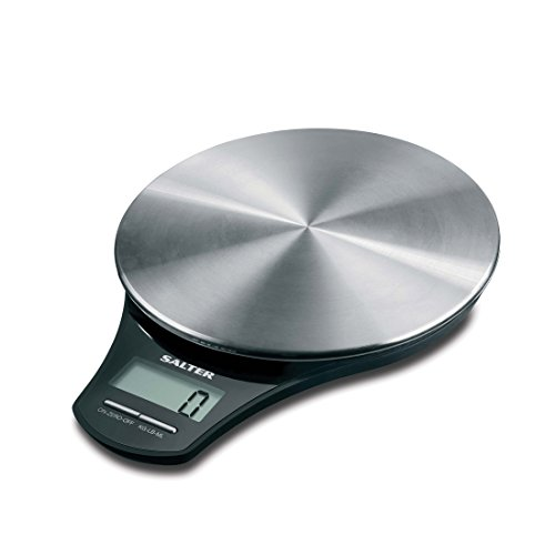 Salter Stainless Steel Digital Kitchen Weighing Scales – Stylish Silver Platform / Black Design Electronic Cooking Scale Appliance for Home and Kitchen, Weigh Food with Accurate Precision up to 5kg + Aquatronic Feature for Liquids in ml and fl. Oz. 15 Year Guarantee