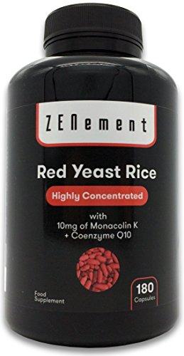 Levadura Roja de Arroz concentrada con 10 mg de Monacolina K y Coenzima Q10, 180 Cápsulas | Controla los niveles de colesterol sanguíneo | 100% Vegano, libre de aditivos, sin gluten | de Zenement