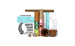 bioQ Mini Planting Stationery Combo | Eco Friendly Kit with 2 Mini Planting Sets | Combo : 2 Plantable Notepad (A5 Size), 5 Seed Pencils & 5 Seed Colouring Eco Pens