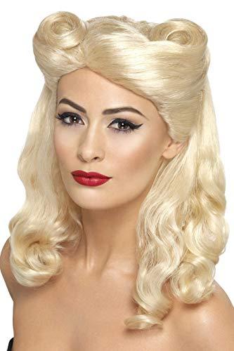 Smiffys Perruque pin-up des années 40, blonde, avec bigoudi de la victoire
