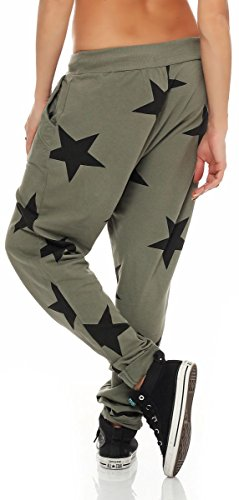 malito Damen Jogginghose mit Knopfleiste | Sporthose mit Sternen | Baggy zum Tanzen | Sweatpants �?Trainingshose 3301 Oliv