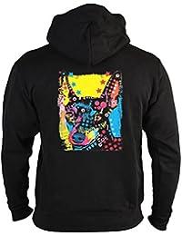 Zwergpinscher Sweatshirtjacke Herren mit Kapuze Reißverschluss Hunde Neon Pop Art Motiv Miniature Pinscher Kapuzenjacke buntes Portrait Hund Zip Jacken in schwarz : )