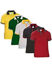 Baremoda Men's Polo T Shirt Maroon Black Grey Dark Green And Yellow Combo Pack Of 5