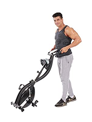 Foldable Fitness Exercise Bike with 16 Level Resistance, Hand Pulse by Pleny by pleny