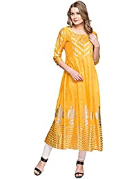 Kashish Womens Round Neck Printed Kurta