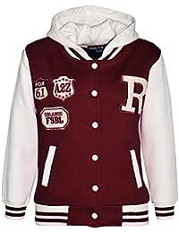A2Z 4 Kids Enfants Filles Garçons Vin Designer R Fashion Baseball  Encapuchonné Top Vestes Manteaux Varsity cc6e0abf22d9