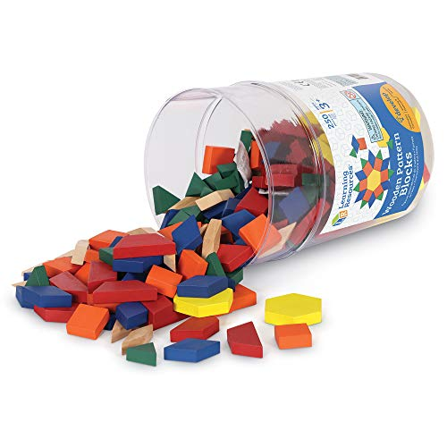 Learning Resources- Bloques geométricos de Madera de 1cm (Juego de 250), Color (0 LER0334)