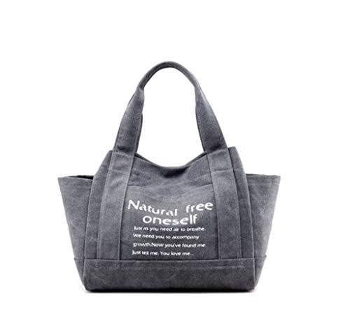 LYX® Schultertasche, koreanische Magazin Brief Tasche, neue große Kapazität Canvas Bag, gedruckte Mobile Handtasche (Farbe : Gray) -