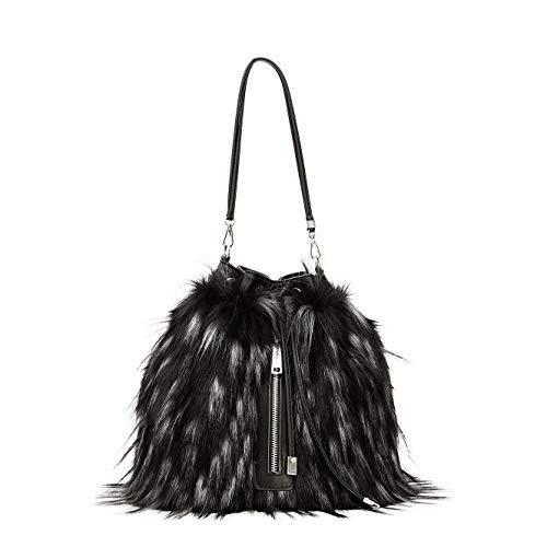 Cafènoir zainetto secchiello donna in eco-pelliccia bicolore jbie014 (nero)