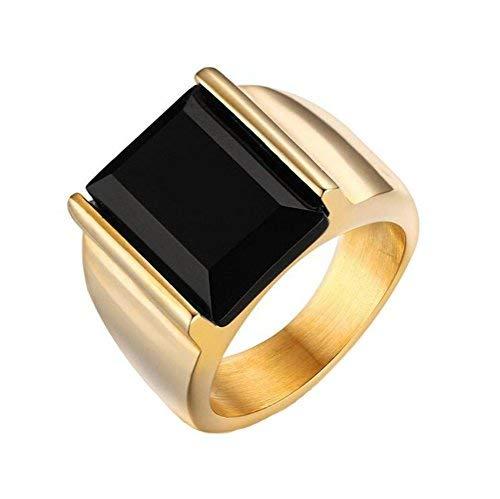 PAURO Herren Edelstahl Schwarz 18K Gold Vergoldet Onyx Ringe Vintage Größe 54 - Herren Ring Versprechen Gold