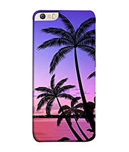 PrintVisa Designer Back Case Cover for Micromax Canvas Knight 2 E471 (Pink Calm Ocean Waters Sunset Palm Trees )