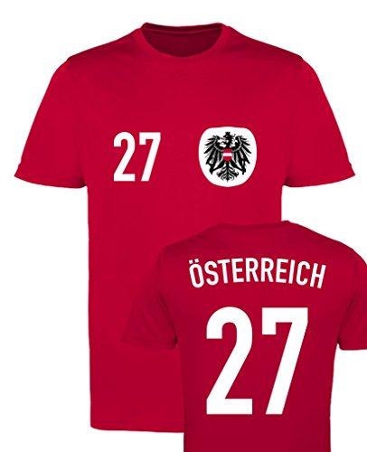 WM EM Trikot - ÖSTERREICH 27 - Herren T-Shirt - Rot/Weiss-Schwarz Gr. M