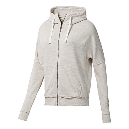 Reebok Damen Elements Marble Logo Full-Zip Laufbekleidung Hoody Creme - Weiß S - Element Full Zip Sweatshirt