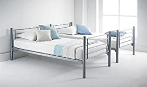 Happy Beds Cherry Silver Finished Quality Metal Bunk Bed Frame