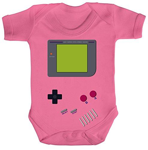 Gamer Nerd Geek Strampler Bio Baumwoll Baby Body kurzarm Jungen Mädchen Retro Spielkonsole, Größe: 12 - 18 Monate,Bubble Gum Pink (Gum Bubble Pink Baumwolle)