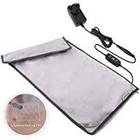 [Newest Research] Graphene Electric Heating Pad Far Infrared Fast Heating, DC 12V/3A Washable Heat Pad with Auto Shut-Off , 3 Temperature Settings for Back Abdomen Stomach Legs Feet Cramps Pain Relieve, Size 12×24 Inches