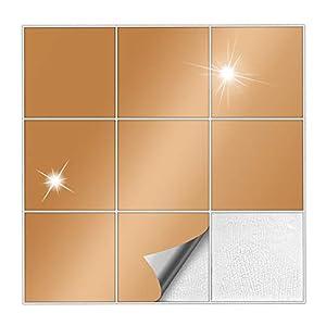 Kiwistar Fliesenaufkleber Kupfer 92 Glänzend - 20 x 20 cm - 25 Stück - Für Bad, Küche etc