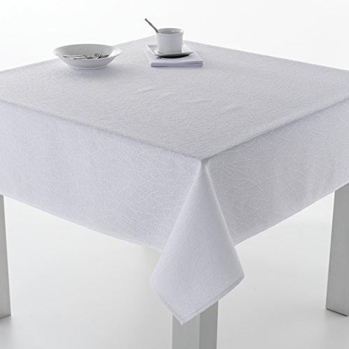 ES-TELA - Mantel BURGOS color Blanco - 100x140 cm - Resinado impermeable...