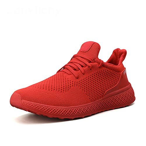 HOTSTREE Plus Size 39-46 Men White Sneakers Summer Mesh Breathable Walking Shoes Casual Black Men Trainers Shoes Tenis Boost Red 6.5