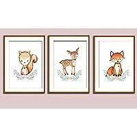 Prints 3er Set Format A4 Waldtiere Eichhörnchen Fuchs Reh Bild Kinderzimmer Wanddeko ohne Rahmen