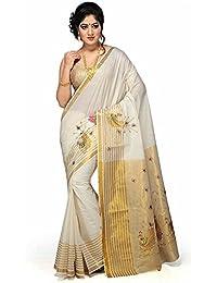 Rsv Fabrics Kerala Kasavu Zari Stripe Saree With Golden Blouse Material